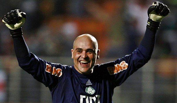 Palmeiras' goalkeeper Marcos reacts after his team scored a goal against Vasco da Gama in their Copa Sudamericana soccer match in Sao Paulo