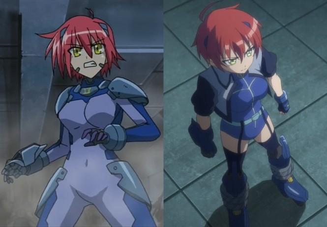 Comparando Nove de Nanoha StrikerS (esquerda) com Nanoha Vivid (direita).